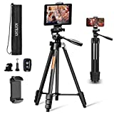 ACUTECATX 54-Inch Phone Tripod for iPhone Android Cell Phone iPad Camera Tripod Stand Mount with Wireless Remote + Universal Phone/Tablet Holder + Tripod Mount for Gopro and Carrying Bag