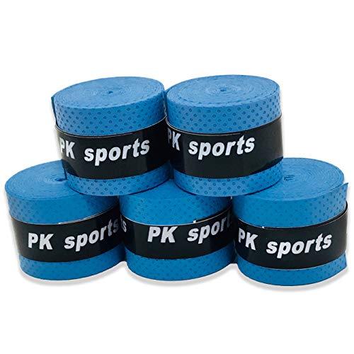 グリップテープ 5個セット (5色セット・黒・赤・青・紫・黄・など各色セットあり) ドライ多孔 オーバーグリップ テニス バドミントン 他 (ブルー)