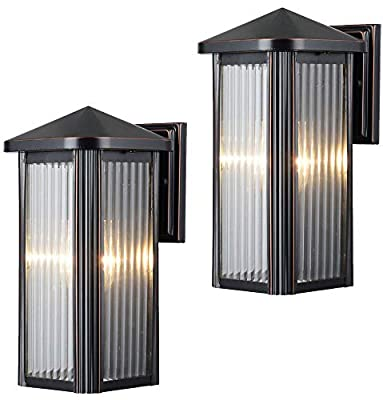 Hardware House 23-0667 & 23-0742 Outdoor Patio / Porch Wall Mount Exterior Lighting Lantern Fixtures with Clear Strip Glass - Twin Pack