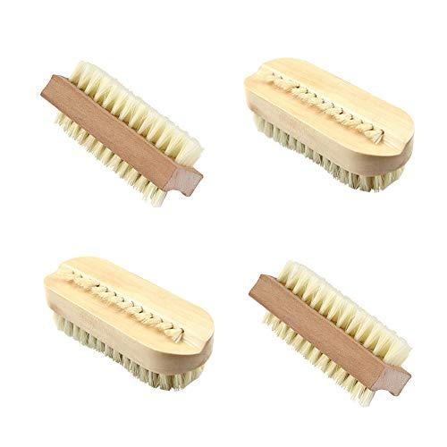 Nagelbürsten aus Holz, 4 Stück, Nagelbürste für harte Nägel, doppelseitig, Holzgriff, Hand-/Fingernagelbürste für Nagel-Maniküre (2 Stile)