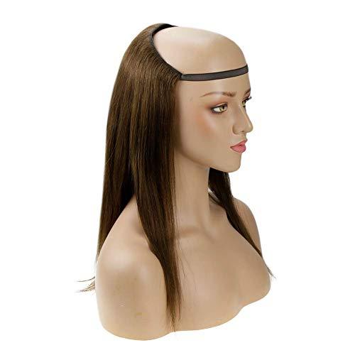 3/4 media peluca recta 20 pulgadas color 4 marrón chocolate 140g pelucas de cabello humano recto