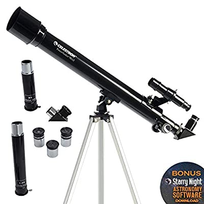 Celestron - PowerSeeker 50AZ Telescope - Manual Alt-Azimuth Telescope for Beginners - Compact and Portable - BONUS Astronomy Software Package - 50mm Aperture from Celestron