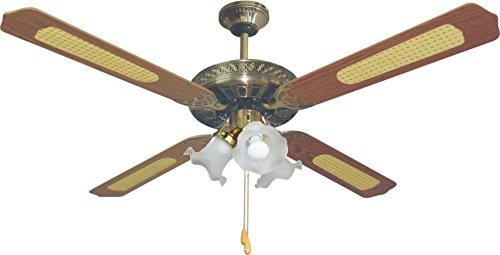 bastilipo Ventilateur de plafond pour 3 ampoules E27, 60 W, bronze antique 132 x 47 cm
