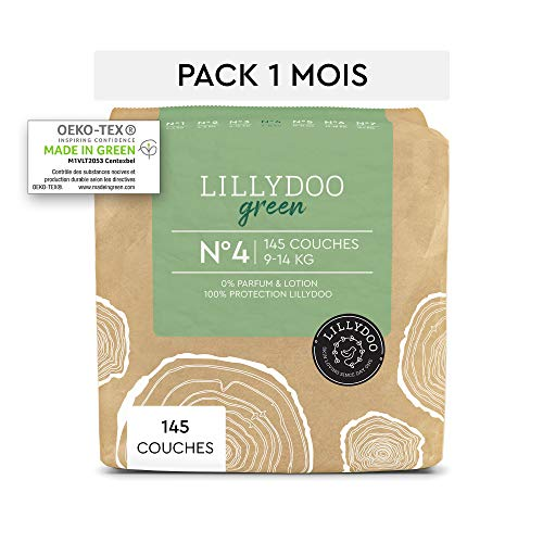 Couches LILLYDOO green - Taille 4 (9-14 kg) - 145 couches - Pack 1 mois