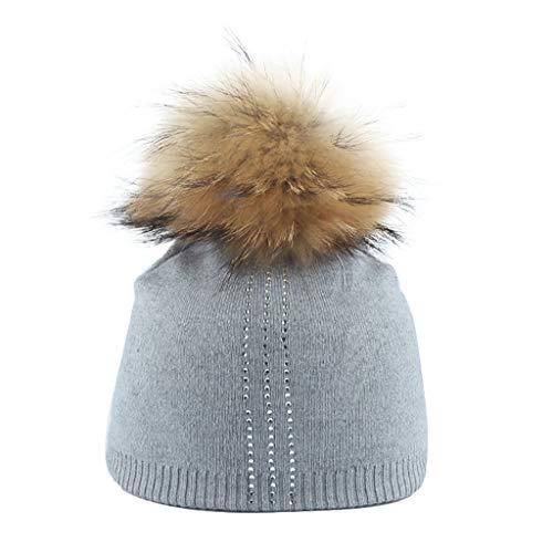 SUCES Wintermütze Mädchen Jungen Kinder Beanie Strickmütze gestrickte Winterhüte mit großer Bommel Warm Stricken Kindermütze Babymütze Einfarbig Kappe Hüte Mütze