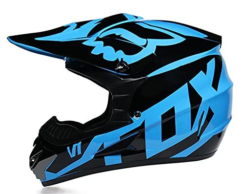 Fullface MTB Helm Motocross Helm Downhill Helm Kinder Cross Helm mit Brille Handschuhe Maske, ABS-Schale und EPS für erhöhte Sicherheit (Blau, S(52-53cm))