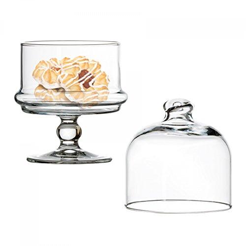 Van Well Pasabahce Mini-Patisserie aus Glas mit Haube, Kleiner Tortenständer rund, Ø 115 mm, H 185 mm, Servierteller auf Fuß, befüllbar, für Pralinen u. Gebäck