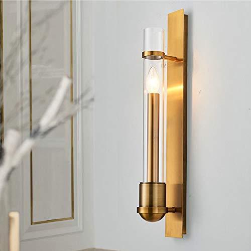 MGWA Lámpara de pared de cobre de 8 x 60 cm, para hotel, sala de estar, pasillo de noche, pasillo de noche, luz LED, estilo simple, personalidad posmoderna