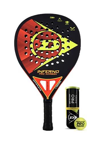 Dunlop Inferno Pro Carbon Padel, incluye funda protectora y 3 pelotas Dunlop Pro Padel