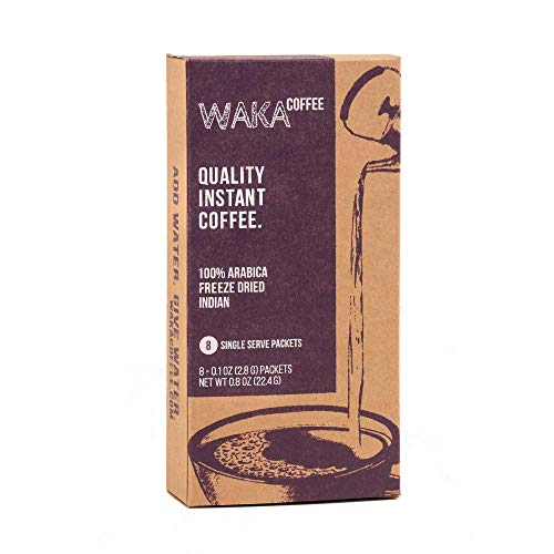 Waka Coffee Quality Instant Coffee, Indian, Light Roast | 100% Arabica, Freeze Dried, 8 Single-Serve Packets | We Bring The Instant Back