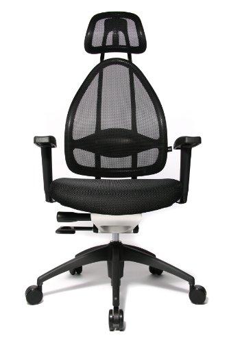 Topstar Open Art 2010 ergonomischer Bürostuhl, Schreibtischstuhl, inkl. höhenverstellbare Armlehnen, Rückenlehne und Kopfstütze, Stoff schwarz