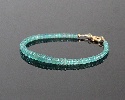 LOVEKUSH Smaragdarmband - zambiskt smaragd pärlarmband, naturligt smaragdarmband, maj månadssten, smycken till maj, stenarmband 3-4 mm kod- WAR6064