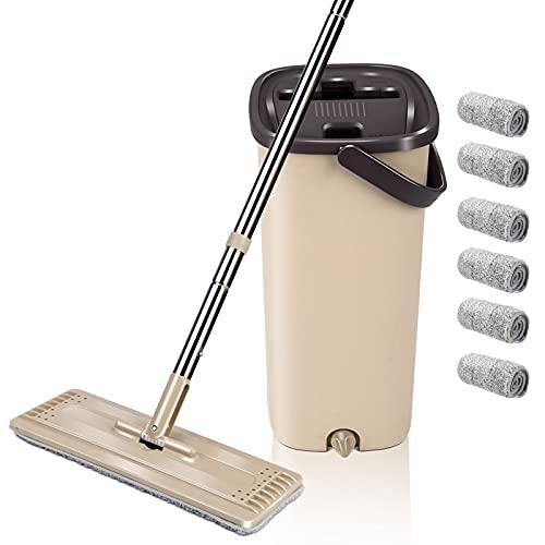 Masthome Flach-Mopp Wischmopp Set mit Eimer 2 in 1 Magic Mop mit Edelstahlgriff,Putzeimer mit Wischmop und 6 Wiederverwendbares Wischpads für Die Bodenreinigung