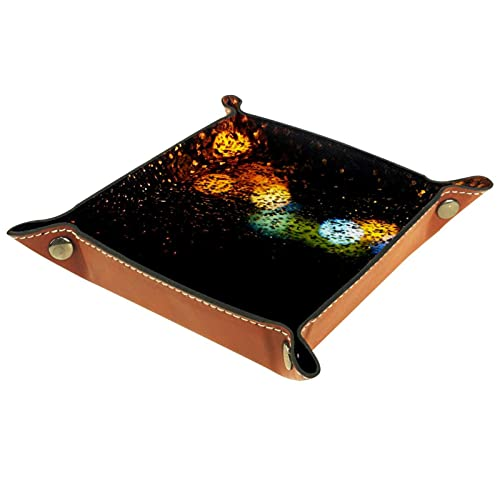 Schöne Laterne Leder Tablett Nachttisch Aufbewahrungstablett Herren Damen Schmuck Aufbewahrungsbox Schlüssel Portemonnaie Münzbox Reise PU Valet Tray