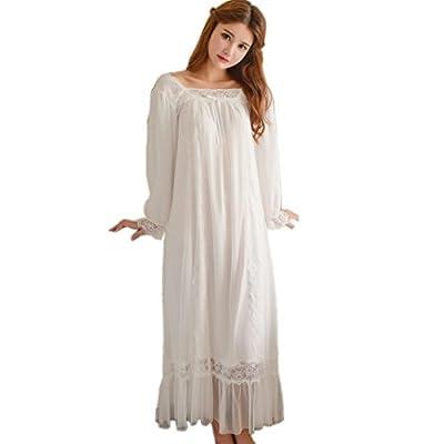 Women Vintage Victorian Nightgown Long Sheer Sleepwear Lace Nightdress Lounge Robe