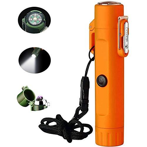 Accendino elettrico e torcia in uno, accendino ricaricabile USB a doppio arco con bussola di sopravvivenza in caso di emergenza, sicurezza impermeabile antivento per escursionismo, avventura, campeggi