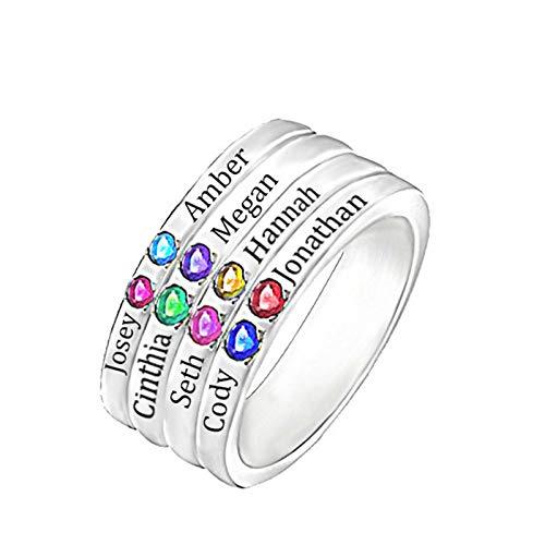 Personaliza 8 anillos con nombre Personaliza 8 anillos con piedras de nacimiento Anillos familiares Anillos de plata esterlina(Plata 22.5)