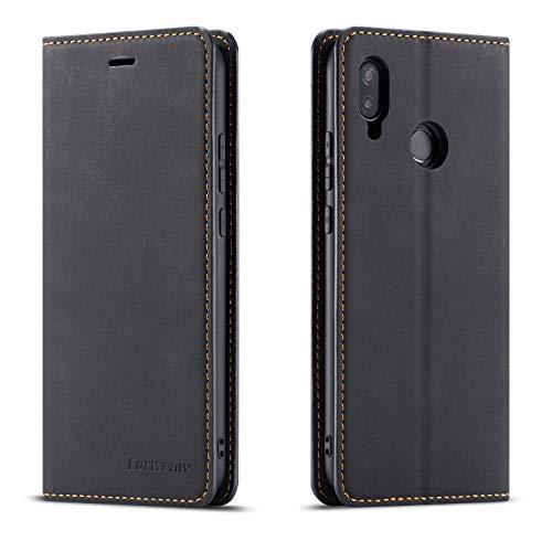 QLTYPRI Hülle für Huawei P20 Lite, Premium Dünne Ledertasche Handyhülle mit Kartenfach Ständer Flip Schutzhülle Kompatibel mit Huawei P20 Lite - Schwarz