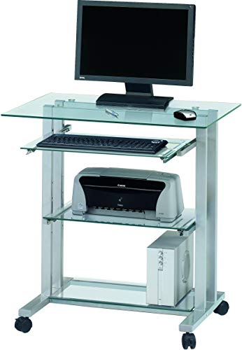 Jahnke CU-PC-R 12 KGL/AL Laptop-Tisch, ESG-Sicherheitsglas, Metall pulverbeschichtet, klarglas/alu, 80 x 56 x 84 cm