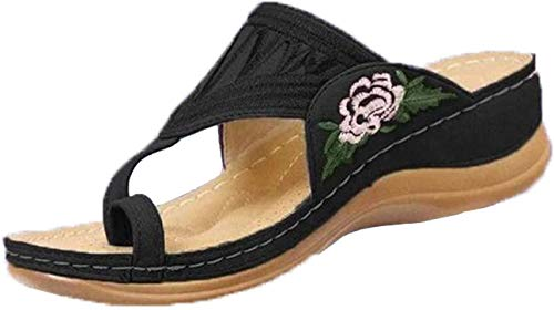 ZBTOP Casual Embroidery Toe Ring Sandals Slippers, Ethnic Style Toe Ring Sandals, Espadrilles for Women Wedge Open Toe,Women Sandals Summer Sandals, Comfy Beach Sandal Shoes Black 7