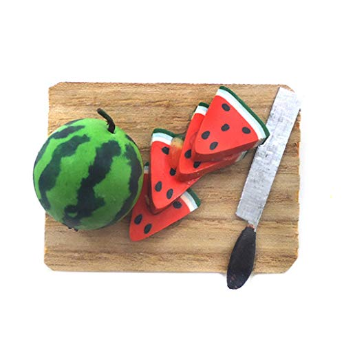 WOWOWO 1/12 Miniatura Dollhouse Kitchen Tajadera Cocina Sandía Cuchillo Modelo Decoración