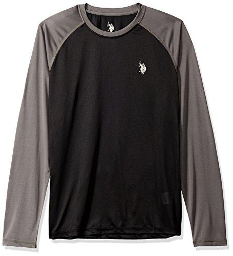 U.S. Polo Assn. Mens Long Sleeve UPF Swim T-Shirt, 6408-Black, XL