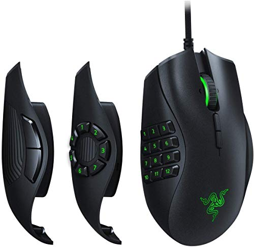 Razer Naga Trinity - MOBA / MMO Gaming Mouse (3 Interchangeable Side Plates, 16,000 DPI 5G Optical Sensor, Up to 19 Programmable Buttons), Black