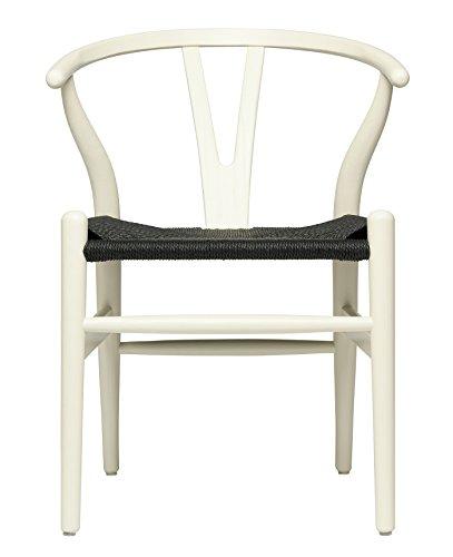 Hans Wegner Wishbone - Sedia in tessuto Bianco rustico con cordoncino nero.