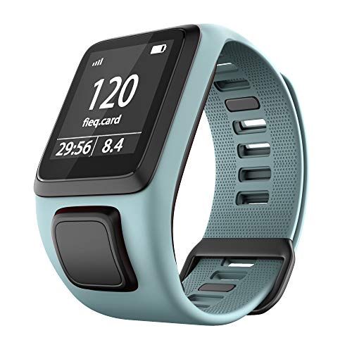 TopTen Bracelet de rechange en silicone pour montre connectée TomTom Runner 2/3 Series, Spark 3, Golfer 2, Adventurer (bleu sarcelle)