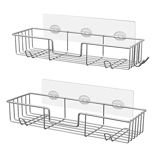 AmazerBath Adhesive Bathroom Shower Shelf Shower Wall Caddy with Hooks Stainless Steel Shower Storage Organizer Wall Mounted for Bathroom, Kitchen, Toilet - 2 Pack, Chrome