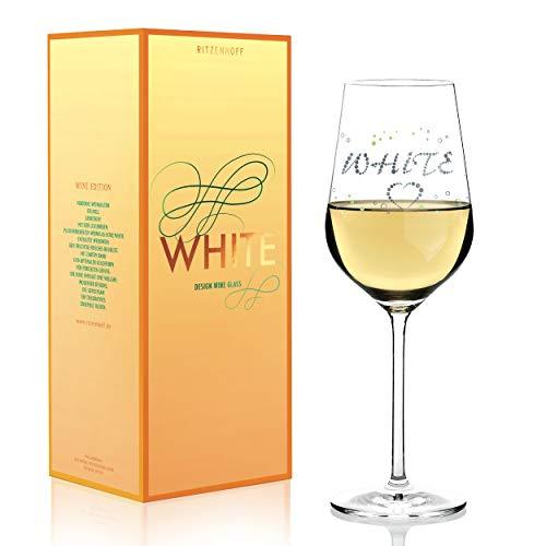 RITZENHOFF White Weißweinglas von Sabine Röhse, aus Kristallglas, 360 ml, mit edlen Platinanteilen