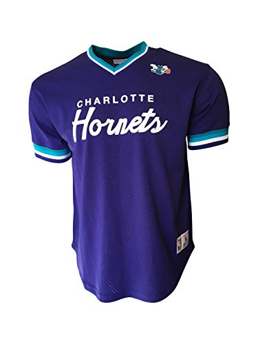 Mitchell & Ness Men's Charlotte Hornets Jersey 100% Polyester Purple (X-Large)