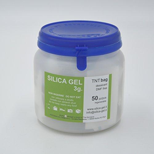 Disidry Silicagel - 50 bustine essiccanti disidratanti 3 grammi silica gel (desiccant, gel di silice, gelo di silice), assorbi umidità rinnovabile.