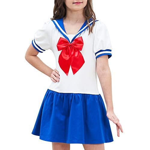 Sunny Fashion Vestido para niña Marinero Luna Cosplay Uniforme Escolar Armada Traje 12 años