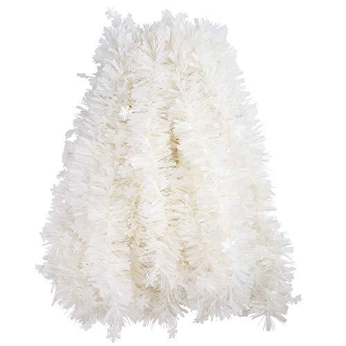 VEYLIN Lametta-Girlande mit Schneeflocken, 10 m, Weiß