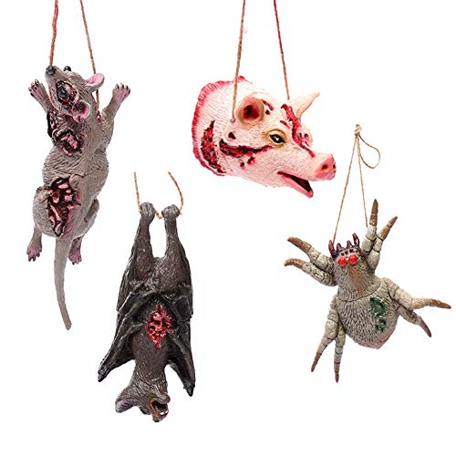 Cozywind 4Pcs Decoracion de Accesorios de Halloween, Parodia de Terror Animales con Colgantes, Decorar la Fiesta de Halloween,la Casa Embrujada Discoteca.la Fiesta de Halloween Casa