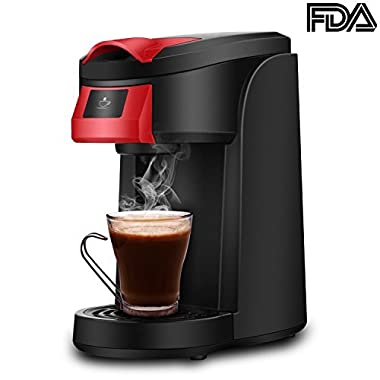 Single Serve Coffee Maker, SOWTECH 2 in 1 3.5 Bar Coffee Machine Brewer Use with Multi K-Cup Pods and Ground Coffee, Support One Key & 2 Minute Brew, 12oz Brew Size, Auto Off, 5.1  Travel Mug, 800W