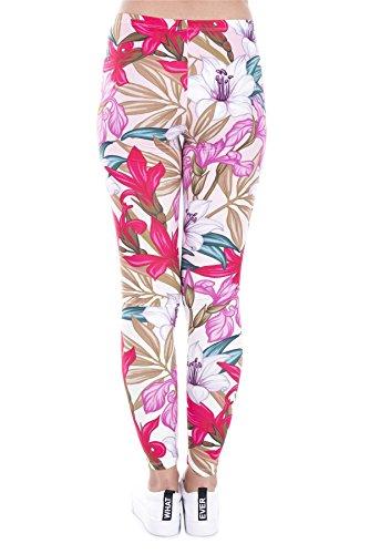kukubird Printed Patterns Women's Yoga Leggings Gym Fitness Running Pilates Tights Skinny Pants 8 to 12 Stretchable - Paradise Flowers
