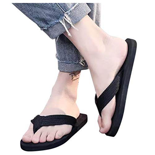 MITCOWBOYS Men's Thong Sandals Lightweight Beach Sandal Shower Slippers Best Travel Flip Flops for Men Black