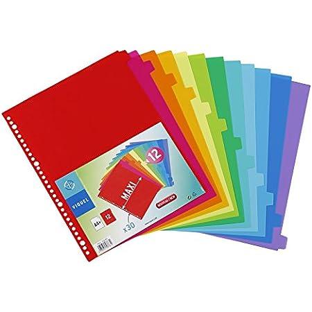 Viquel - Lot de 12 Intercalaires plastique format A4 Maxi - Perforation 30 trous - Intercalaires scolaires ou bureau
