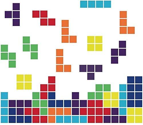 Pegatina de pared Tetris juego de arcade retro pegatina de pared para niños sala de juegos sala de estar dormitorio para niños decoración de la pared