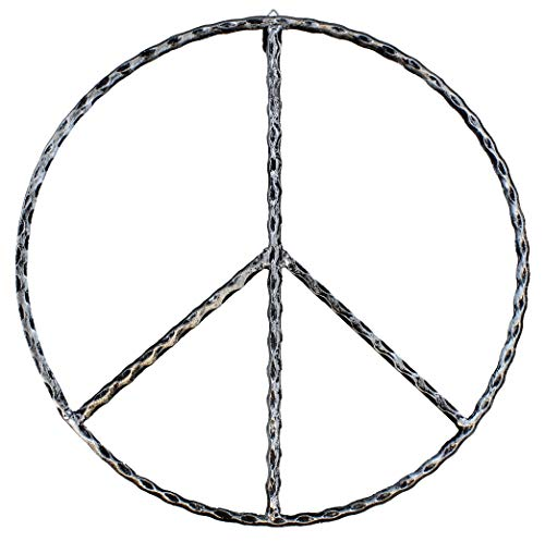 """Old River Outdoors Large Metal Peace Sign Wall Decor Art - 16"""" Rustic Hippie Plaque"""