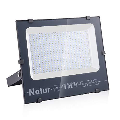 150W LED Foco Exterior de alto brillo,15000LM Impermeable IP66 Proyector Foco LED, Iluminación de Seguridad, 6000K Blanco Frío para Pared,Patio, Camino, Jardín [Clase de eficiencia energética A++]