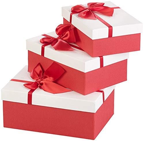 Your Design Geschenkbox: 3er-Set edle Geschenk-Boxen mit roter Schleife, 3 Verschiedene Größen (Geschenkkarton)