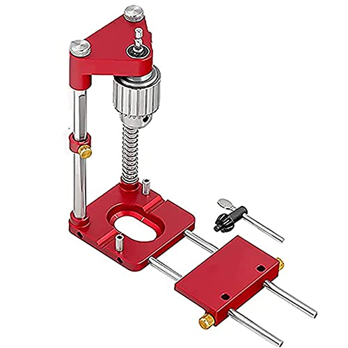 The Best Woodworking Drill Locator in 2021, Mini Bench Drill Press, Woodworking Drilling Locator Tool Kit, Adjustable Punch Locator Drill Template Guide (red)