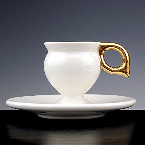 Mug LINGAM D'or à Café Porcelaine émaillée blanche avec Queue en or 18 carati. Lot de 2 tasses avec PIATTO. fait à la main tasses design !