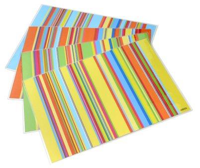 Artipics Tischsets Platzsets Abwaschbar Stripes Sortiert 4 Verschiedene Farbstellungen je 1 Tischset in jeder Farbe Platzdeckchen Kunststoff 42x30 cm, bunt und fröhlich für alle Tage