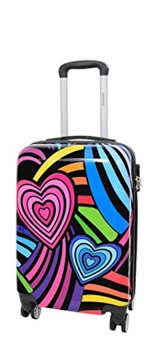 Cabin Size Hand Luggage 4 Wheel Multi Hearts Travel Bag Built-in Lock Suitcase AA682