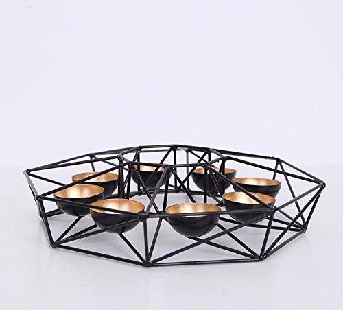 PEIWENIN-Linea geometrica moderna in ferro battuto minimalista candelabro decorazioni per la tavola da tavola, 7 * 30cm, nero
