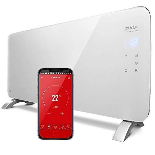gridinlux. Radiador eléctrico bajo Consumo Homely WiFi Warm 2000w. para Pared y Suelo. Emisor térmico programable. Control por App. Apto para baños. Compatible con Alexa y Google Home.